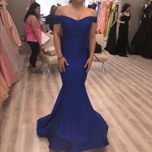 Royal Blue Off the Shoulder Prom Gown